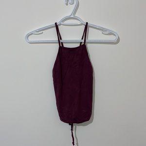 GARAGE Purple open back tie up halter top